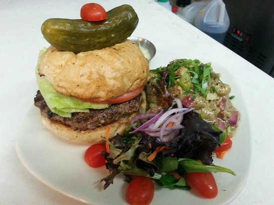 , : Snake River Farms American Kobe Beef Burger with a Grain Mustard Fingerling Potato Salad