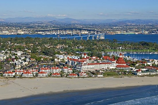 Beach Village at The Del: Full panoramic of Coronado, Beach Village and The Del.