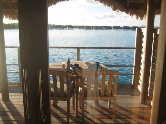 Four Seasons Resort Bora Bora: Looking out the patio door from the living room of our bungalo