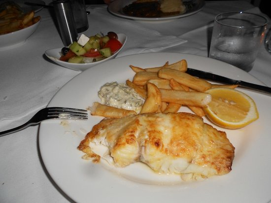 Main Beach, Australia: Barramundi, served with large dish of chips to share &amp; bowl of salad (not pictured)