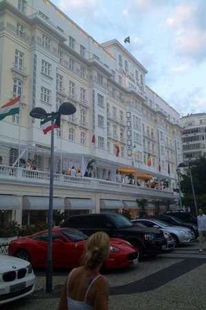 Copacabana Palace Hotel by Orient-Express: Outside Hotel- nice terrace- had a complimentary Veuve Party there!