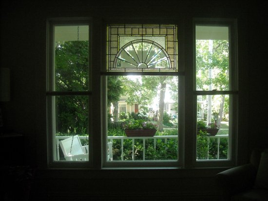 Iowa City, IA: View of the front porch from the sitting room.