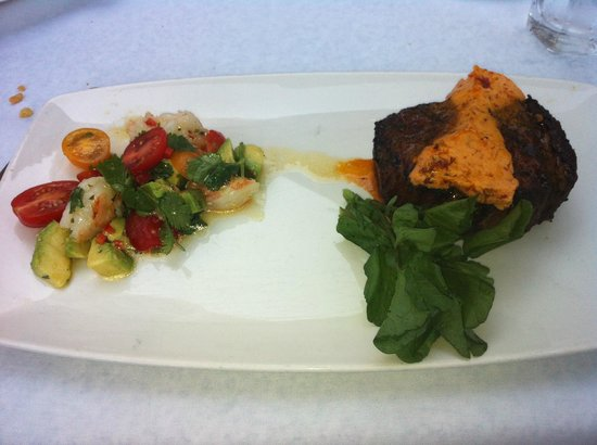 , : Fillet with shrimp salad