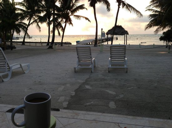 Caye Casa: Early morning sunrise + cup of coffee
