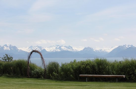 Kenai Peninsula Suites: Bench with a view