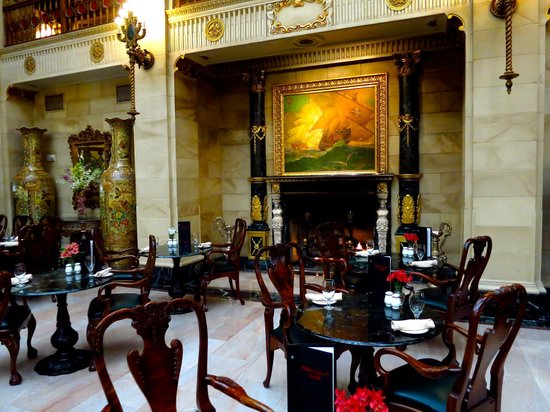 The Davenport Hotel & Tower: Hotel Lobby and Fireplace