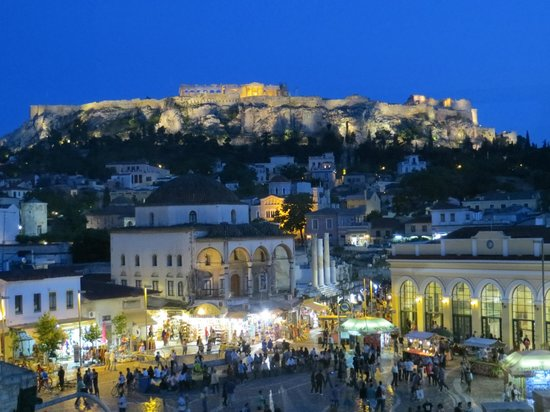 A for Athens: night time view