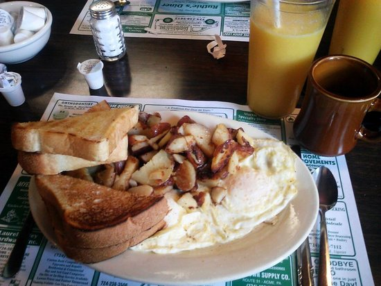 Ligonier, PA: home fries, 'egg-ie' eggs over easy, homemade bread toast....tastes as good as it looks
