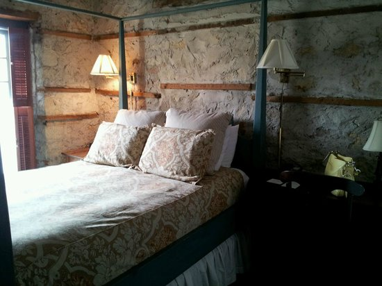 Cedarburg, WI: exposed stone walls in the room - atmospheric!