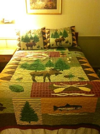 Evergreen Motel : cute bedspread in room 6