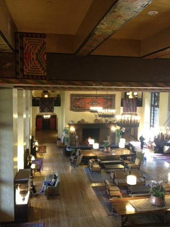 The Ahwahnee: Huge reception room, fireplace and locally authentic interior decor