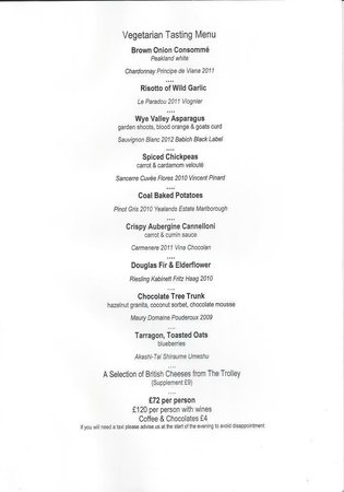 Baslow, UK : Veggie tasting menu
