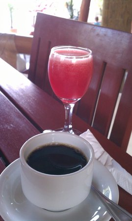 ‪‪Pelican Eyes Resort and Spa‬: Refreshing watermelon juice and coffee.‬