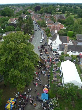 Nantwich, UK: View from Wybunbury Tower during the annual Wybunbury Fig Pie Wakes