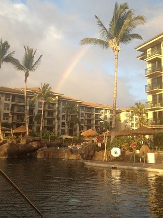 The Westin Kaanapali Ocean Resort Villas: rainbow over the resort after a light shower