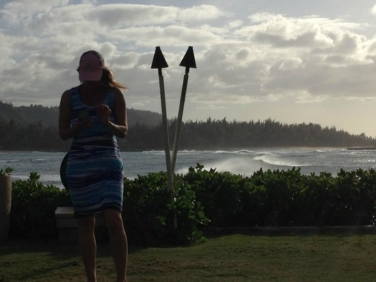Turtle Bay Resort : view from pool area with my wife in pic- 25 year anniversary trip!!