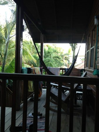 Bananarama Beach and Dive Resort: Porch/Hammock outside rooms