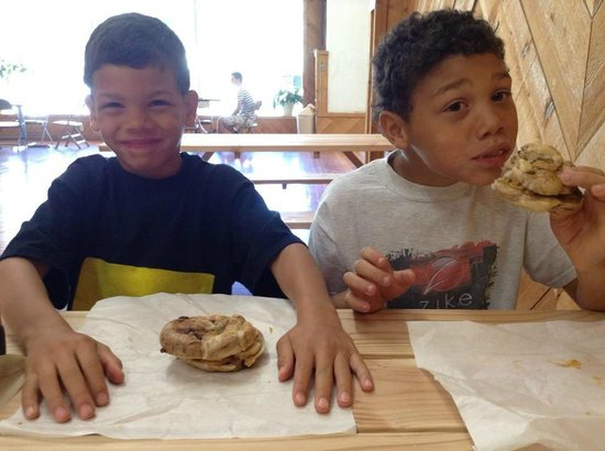 Baker City, OR: Luke & Jake enjoying their breakfast bagel sandwiches!