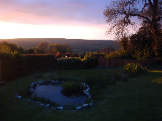Corfe Castle, UK: sunset from the garden