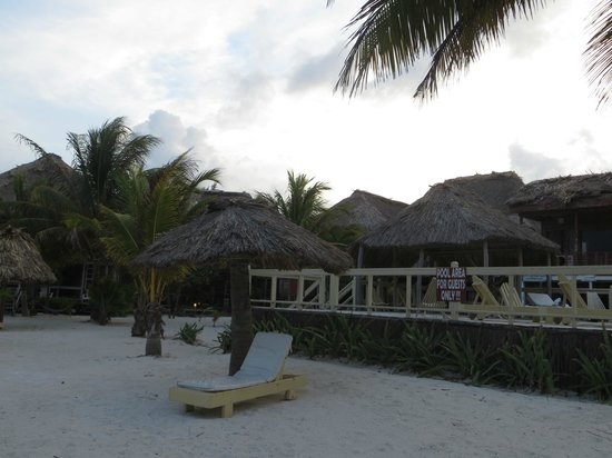 Exotic Caye Beach Resort: Looking from the beach to the pool area
