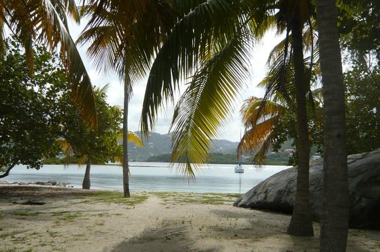 ‪‪Surfsong Villa Resort‬: View of Well Bay from entrance road.‬