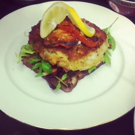 Aberystwyth, UK: My Homemade Salmon Fishcake! Not the best photo but trust me...DELICIOUS