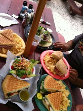 Micanopy, FL: Lamb flatbread, ham and cheese panini, chicken breast sandwich, Geno sandwich, half panini w sal