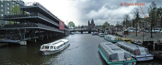 River barges near A-Train Hotel