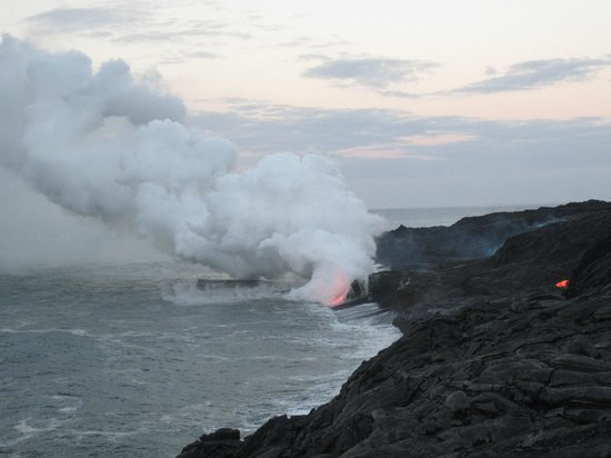 Pahoa, HI: Lava Hike - flowing into the ocean