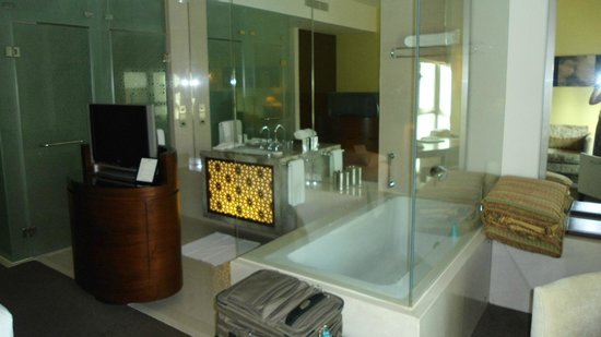 Al Manzil Hotel: Open plan vanity/bath - with separate doors for the toilet & shower.