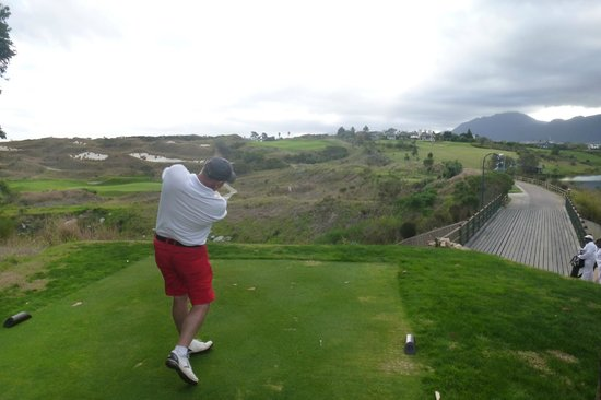 Fancourt: The 18th and the author from the back tees