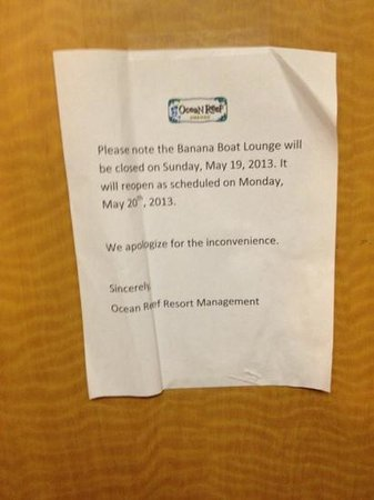 Ocean Reef Resort: it will reopen on Monday then the sign changed to Tuesday what is next Wednesday?