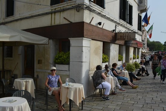 Hotel Antiche Figure: sipping 'more' wine on front patio of hotel