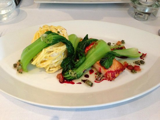 Matlock, UK: Main Course: Fillet of Salmon with Crab & Spring Onion Linguine and Pak Choi