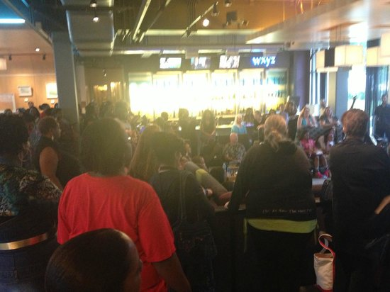 Linthicum, MD: The bar crowd watching the belly dancer in the lobby
