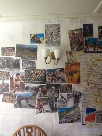 Hebden Bridge, UK: Tour de France wall inside the pub