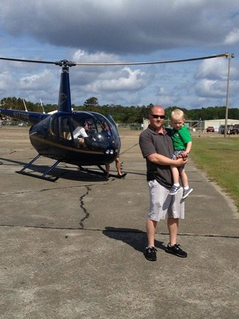 Manteo, NC: Daddy and son ready to take off!