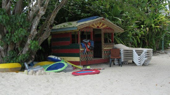 Nirvana on the Beach: The little hut on the beach.  Kayaks and floats are kept over there
