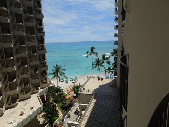 Outrigger Waikiki on the Beach: The view from our balcony (partial ocean view)