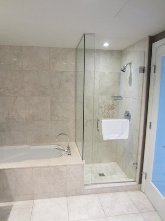 L'Hermitage Hotel: Tub long enough for a tall person! Great shower stall, too.