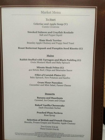 The Bristol Hotel: set menu