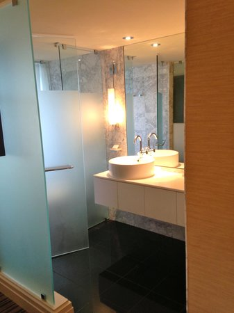 The Dupont Circle Hotel: The sink area is open to the bedroom, the toilet is behind the glass door