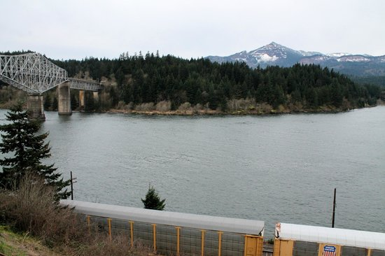 Cascade Locks, OR: Train just outside room