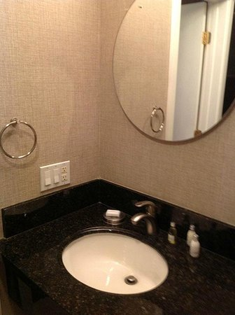 7 Springs Inn & Suites : Bathroom mirror and sink