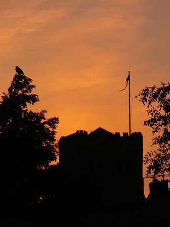 St. Albans, UK: Sunset on tower silhouette 2012