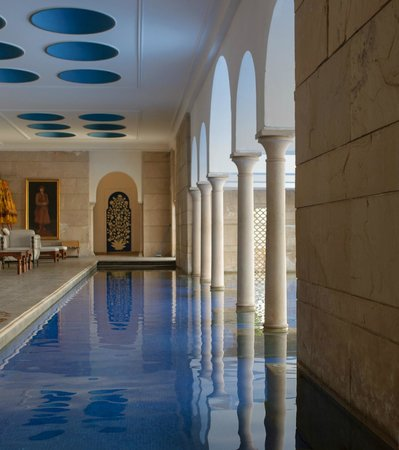 The Oberoi Amarvilas: In the shade, the covered part of the pool
