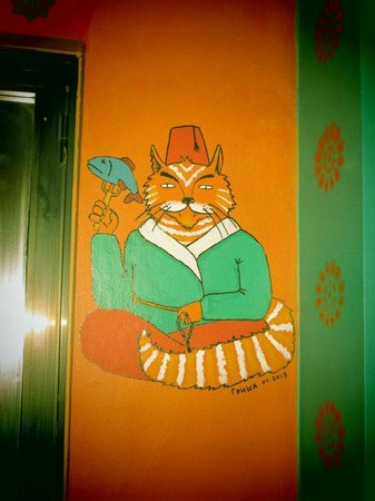 ‪‪Stray Cat Hostel‬: One Mural from Common Area‬