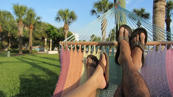 South Beach Condo/Hotel: Hammock in the back of the hotel with view of beach