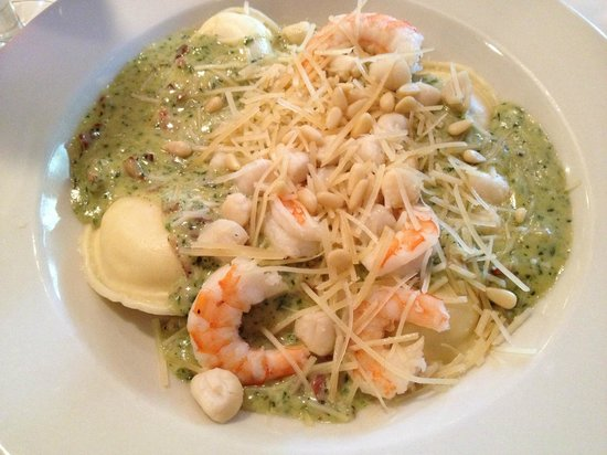 Clinton, NY: Ravioli with prosciutto, basil pesto cream sauce with shrimp and scallops added