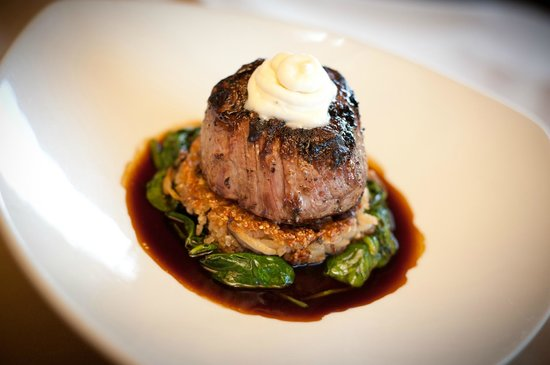 Bernalillo, NM: Cedar Smoked Tenderloin, Carnaroli Rice Cake, Infused Bleu Cheese Foam